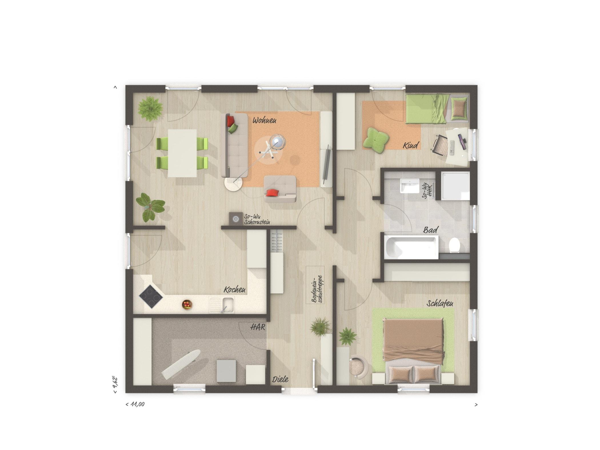 Bungalow Haus Grundriss ebenerdig, 3 Zimmer, 90 qm mit Walmdach - Massivhaus bauen Ideen Town Country Haus Bungalow 92 - HausbauDirekt.de