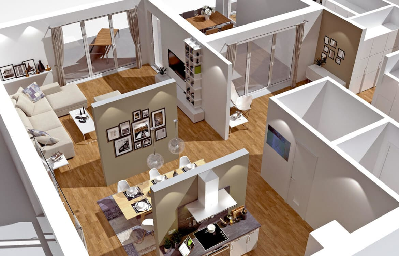 3D Bungalow Grundriss mit offenem Wohn-Ess-Kochbereich - Haus Design innen Ideen ScanHaus Marlow Fertighaus Bungalow SH 169 WB - HausbauDirekt.de