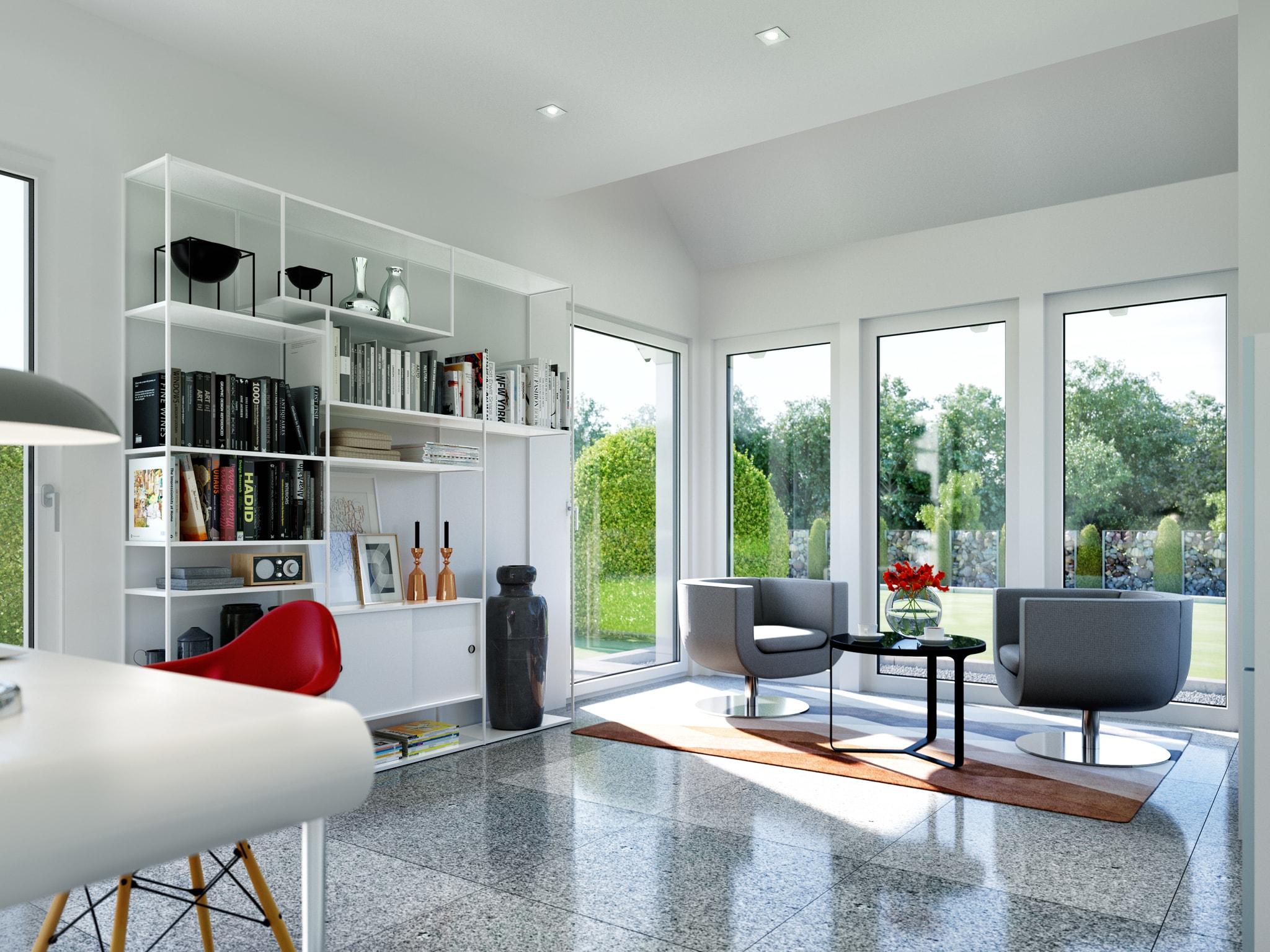 Arbeitszimmer Ideen - Einfamilienhaus Inneneinrichtung Fertighaus Living Haus SUNSHINE 143 V3 - HausbauDirekt.de
