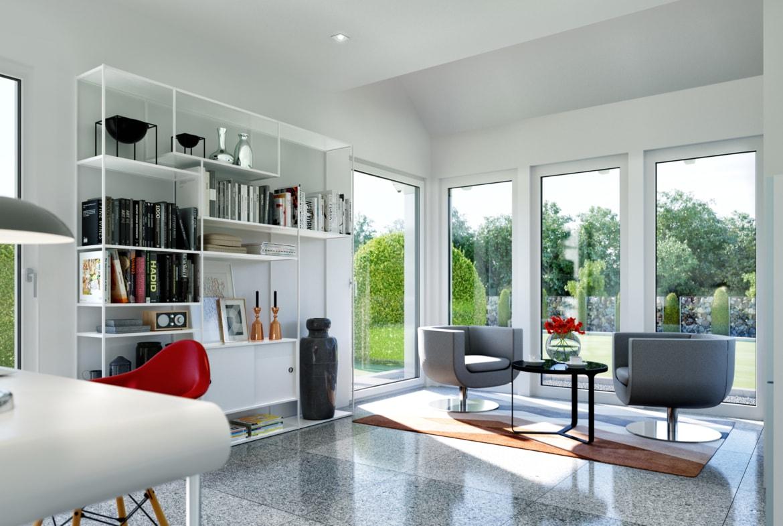 Arbeitszimmer - Ideen Stadtvilla Inneneinrichtung modern Fertighaus Living Haus SUNSHINE 143 V6 - HausbauDirekt.de