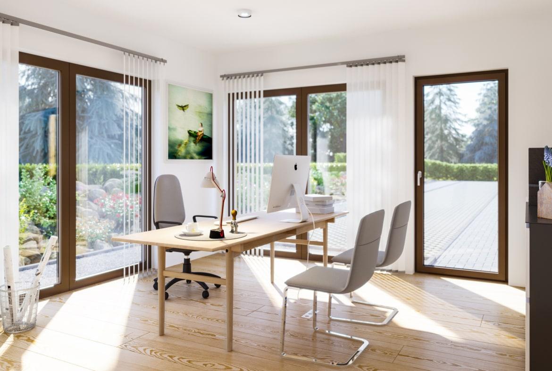Arbeitszimmer - Ideen Inneneinrichtung Fertighaus SUNSHINE 144 V5 Living Haus - HausbauDirekt.de