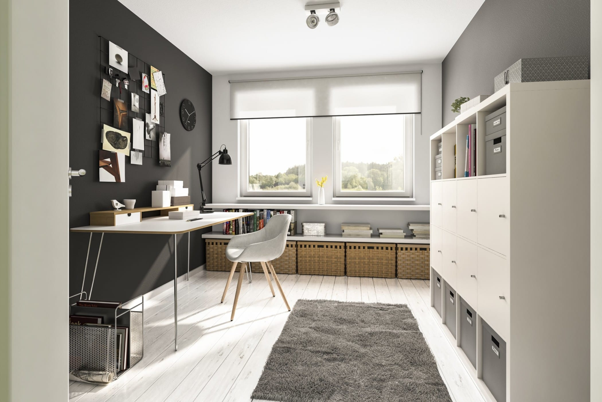 Arbeitszimmer modern Wandfarbe grau & Möbel weiß - Inneneinrichtung Ideen Einfamilienhaus Flair 134 von Town Country Haus - HausbauDirekt.de