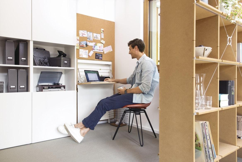 Flexibles Arbeitszimmer modern als Home Office - Inneneinrichtung Haus Design Ideen - Fertighaus Sunshine 220 WeberHaus - HausbauDirekt.de