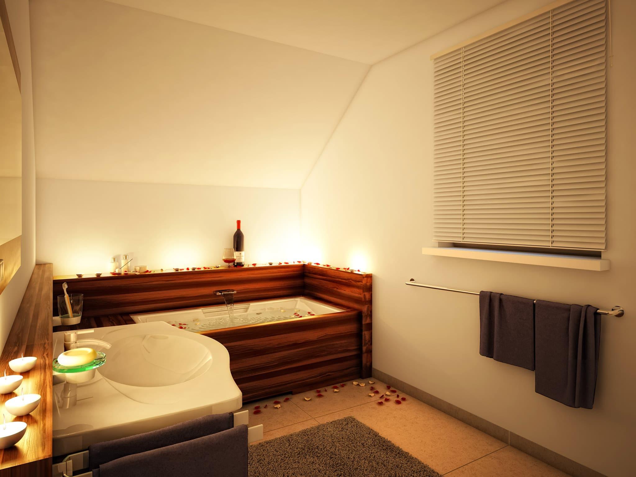 Modernes Badezimmer mit Badewanne unter Dachschräge - Wohnideen Inneneinrichtung Einfamilienhaus EVOLUTION 124 V3 von Bien Zenker - HausbauDirekt.de