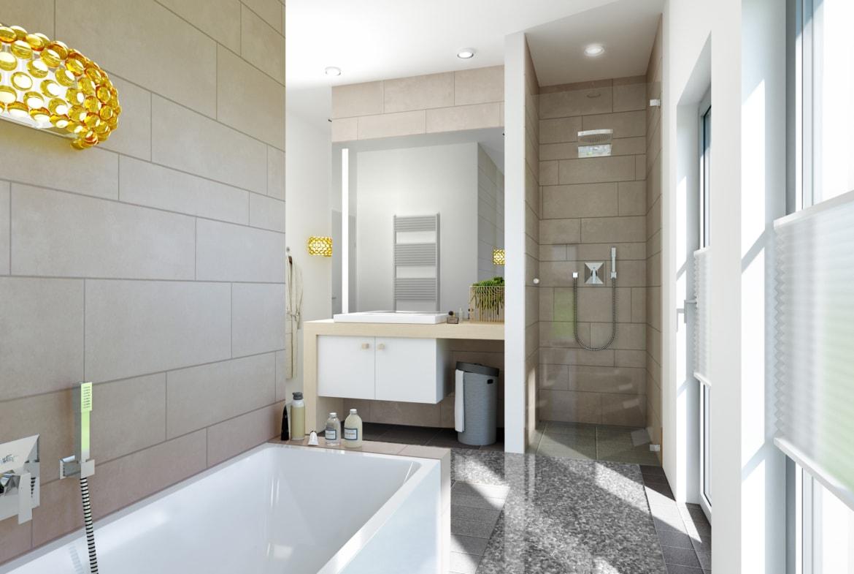 Badezimmer mit ebenerdiger Dusche gemauert, Badewanne & Waschtisch - Ideen Inneneinrichtung Haus Bien Zenker Fertighaus FANTASTIC 161 V2 - HausbauDirekt.de