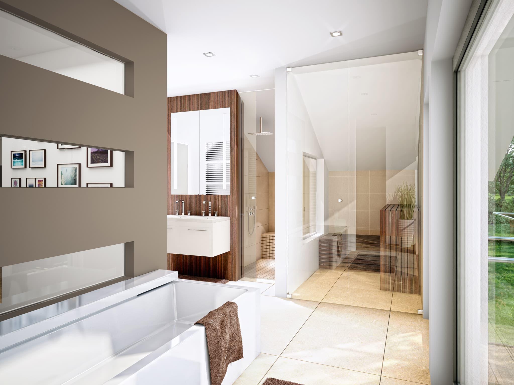 Badezimmer - Ideen Inneneinrichtung Einfamilienhaus Bien-Zenker Fertighaus CONCEPT-M Muenchen - HausbauDirekt.de