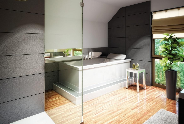 Badezimmer Ideen mit Dachschräge - Einfamilienhaus Inneneinrichtung Fertighaus Living Haus SUNSHINE 126 V4 - HausbauDirekt.de