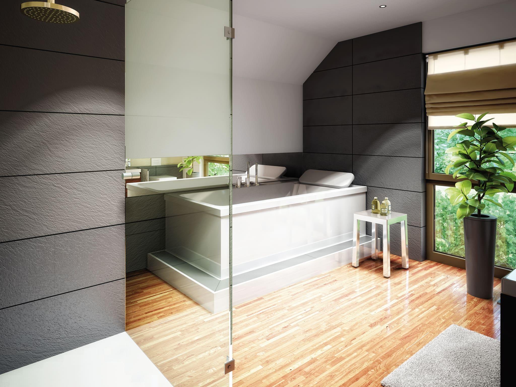 Badezimmer Ideen - Einfamilienhaus Inneneinrichtung Fertighaus Living Haus SUNSHINE 126 V5 - HausbauDirekt.de