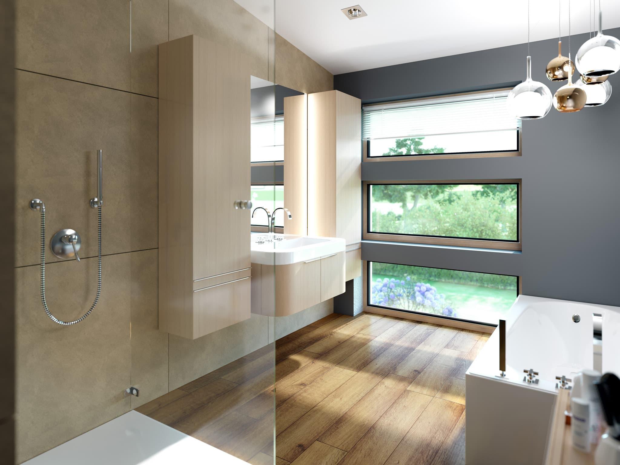 Badezimmer Ideen - Inneneinrichtung Fertighaus SOLUTION 204 V4 von Living Haus - HausbauDirekt.de