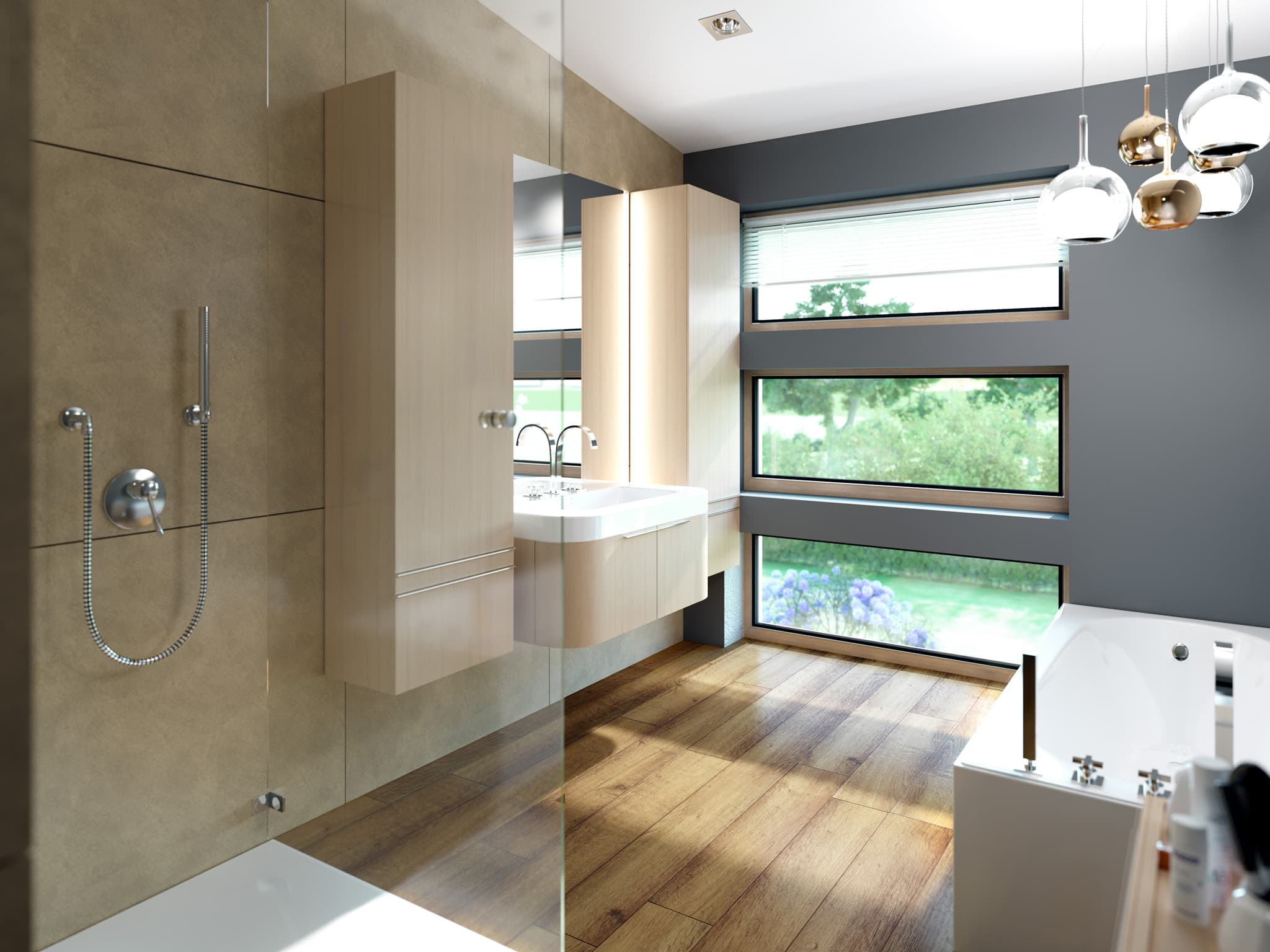 Bad Ideen - Inneneinrichtung Fertighaus SOLUTION 204 V6 von Living Haus - HausbauDirekt.de