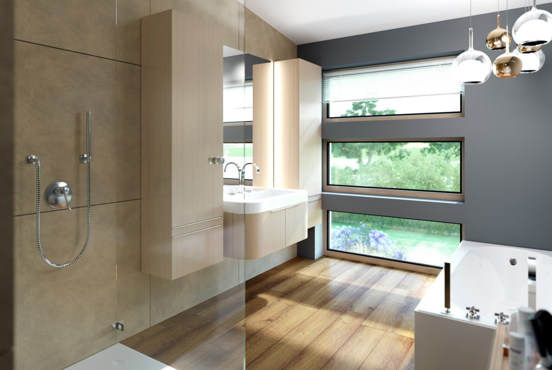 Badezimmer Ideen - Einrichtung Fertighaus SOLUTION 204 V9 von Living Haus - HausbauDirekt.de