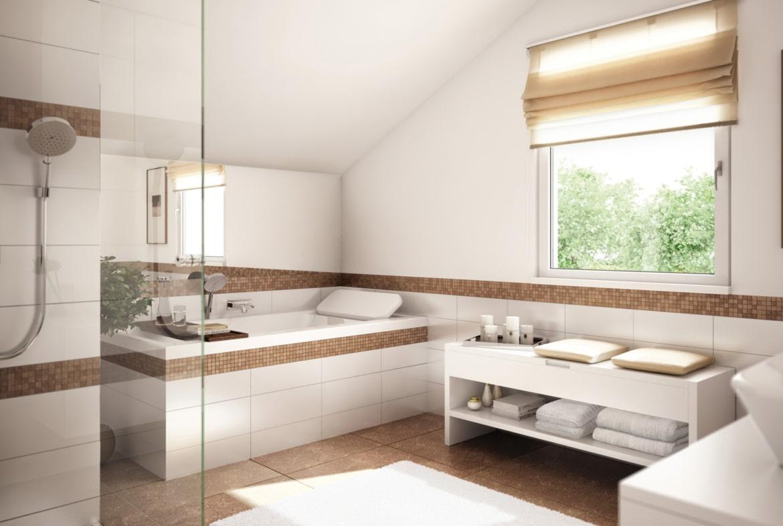 Badezimmer Ideen modern mit Dachschräge - Wohnideen Fertighaus innen SUNSHINE 125 V4 von Living Haus - HausbauDirekt.de