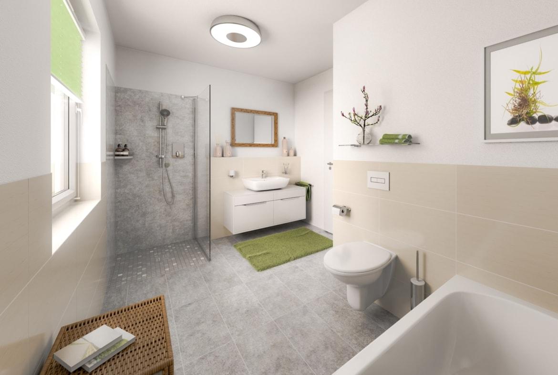 Badezimmer barrierefrei mit bodengleicher Dusche - Inneneinrichtung Bad Ideen Town Country Haus BUNGALOW 78 trend - HausbauDirekt.de