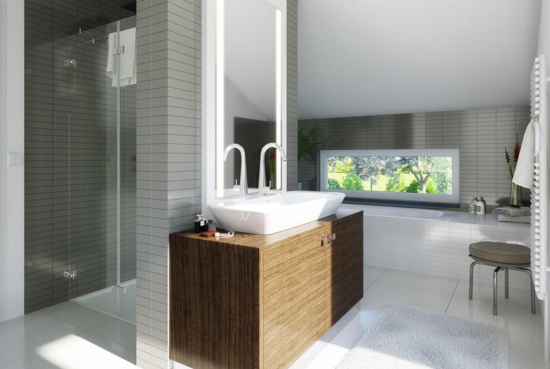 Badezimmer mit Badewanne & Dusche gemauert als Raumtrenner - Ideen Einrichtung Living Haus Fertighaus SUNSHINE 165 V2 - HausbauDirekt.de