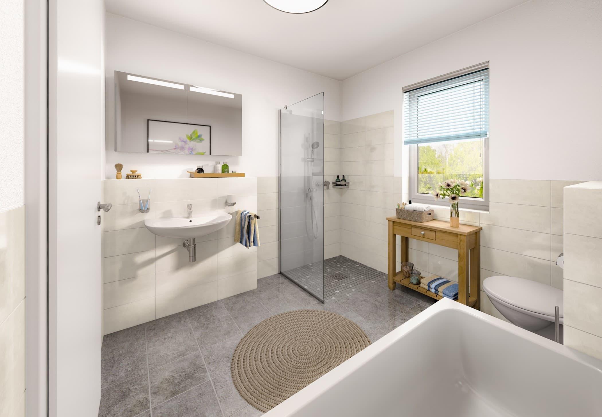 Badezimmer barrierefrei mit bodengleicher Dusche - Einrichtung Bungalow Haus innen Ideen Town & Country Haus Bungalow 92 - HausbauDirekt.de