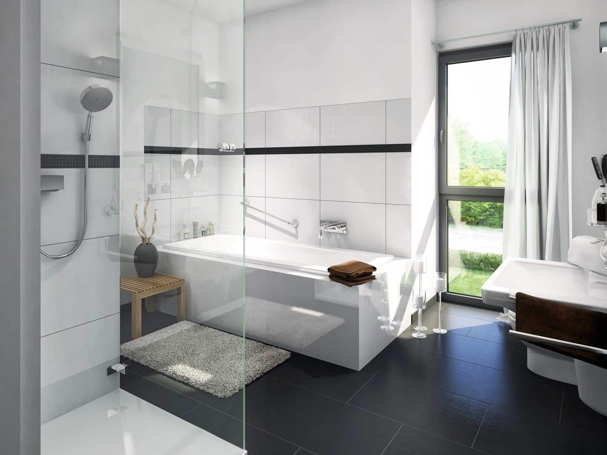 Modernes Badezimmer mit Fliesen weiss/ schwarz - Ideen Inneneinrichtung Einfamilienhaus EVOLUTION 122 V11 von Bien Zenker - HausbauDirekt.de