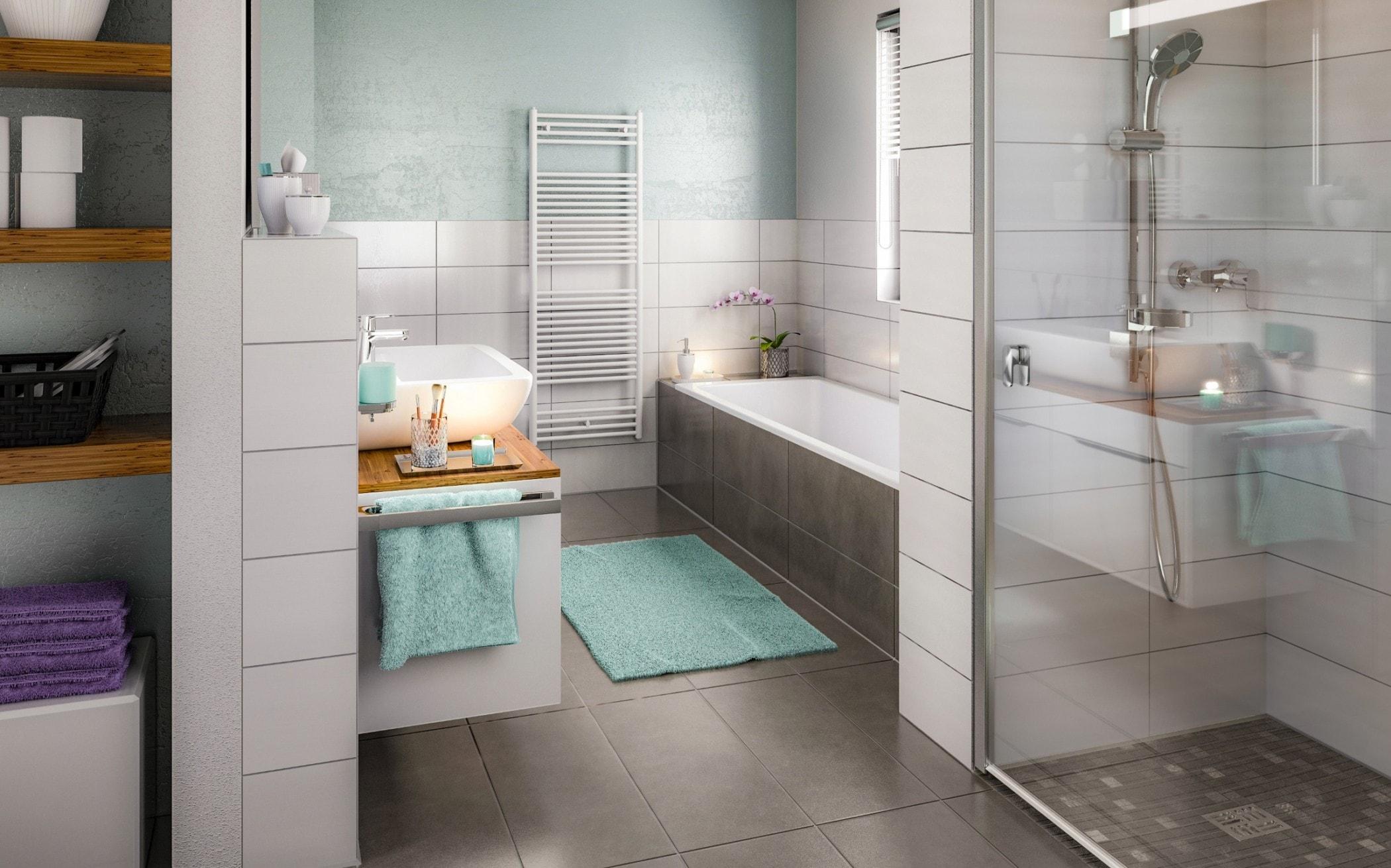 Badezimmer modern mit ebenerdiger Dusche, Farben grau, weiß, türkis - Ideen Einrichtung Doppelhaus AURA 136 von Town Country Haus - HausbauDirekt.de