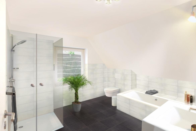 Badezimmer mit Dachschräge - Einrichtung Ideen Town Country Haus Flair 125 Elegance - HausbauDirekt.de