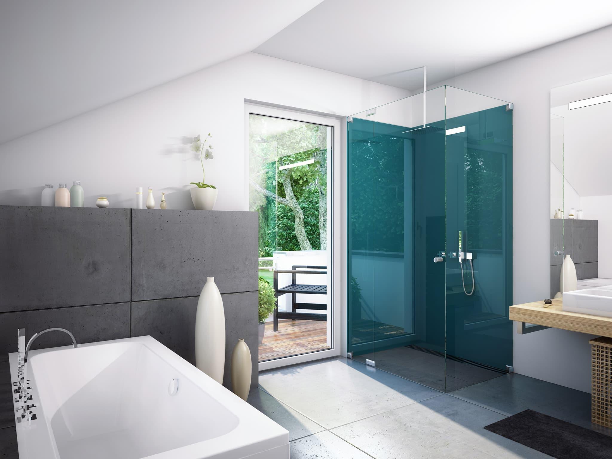 Badezimmer Einrichtung modern, ebenerdige Dusche & Badewanne unter Dachschräge - Wohnideen Inneneinrichtung Haus Bien Zenker Fertighaus EVOLUTION 134 V7 - HausbauDirekt.de