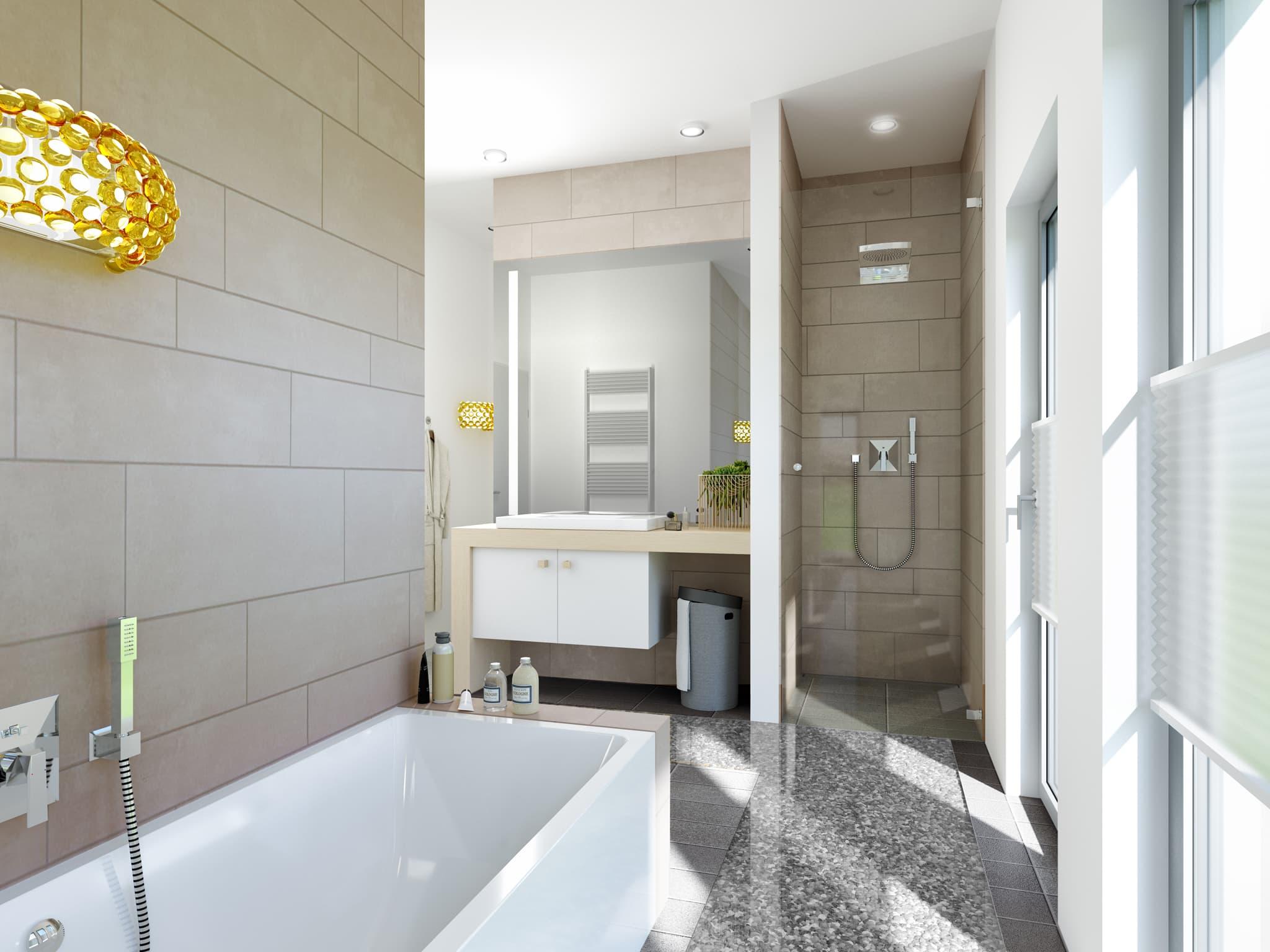 Badezimmer modern mit Dusche, Badewanne & Waschtisch - Ideen Inneneinrichtung Einfamilienhaus Bien Zenker Fertighaus FANTASTIC 161 V5 - HausbauDirekt.de