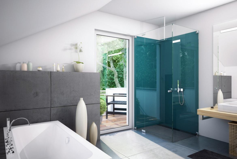 Modernes Badezimmer mit Dachschräge & Balkon - Ideen Inneneinrichtung Haus Bien Zenker Einfamilienhaus EVOLUTION 134 V6 - HausbauDirekt.de