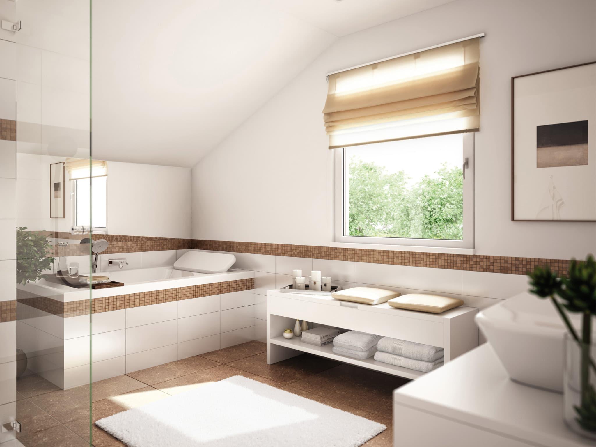 Badezimmer Ideen - Einfamilienhaus Inneneinrichtung Living Haus SUNSHINE 151 V3 - HausbauDirekt.de