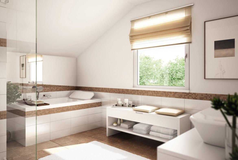 Badezimmer mit Dachschräge & Fliesen halbhoch mit Mosaik Bordüre braun - Ideen Fertighaus Living Haus SUNSHINE 151 V4 - HausbauDirekt.de