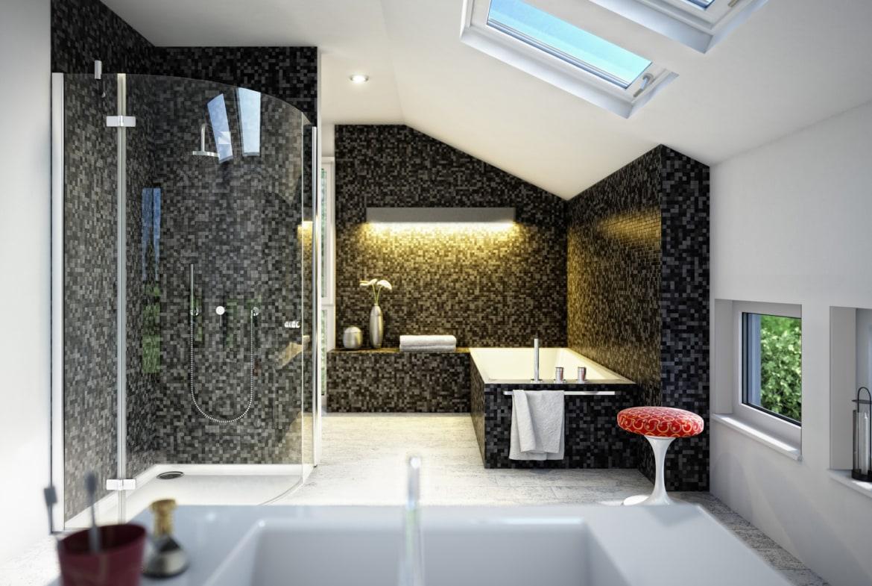 Badezimmer Ideen modern mit Dachschräge & Mosaik Fliesen grau schwarz - Wohnideen Einfamilienhaus SUNSHINE 113 V5 von Living Haus - HausbauDirekt.de