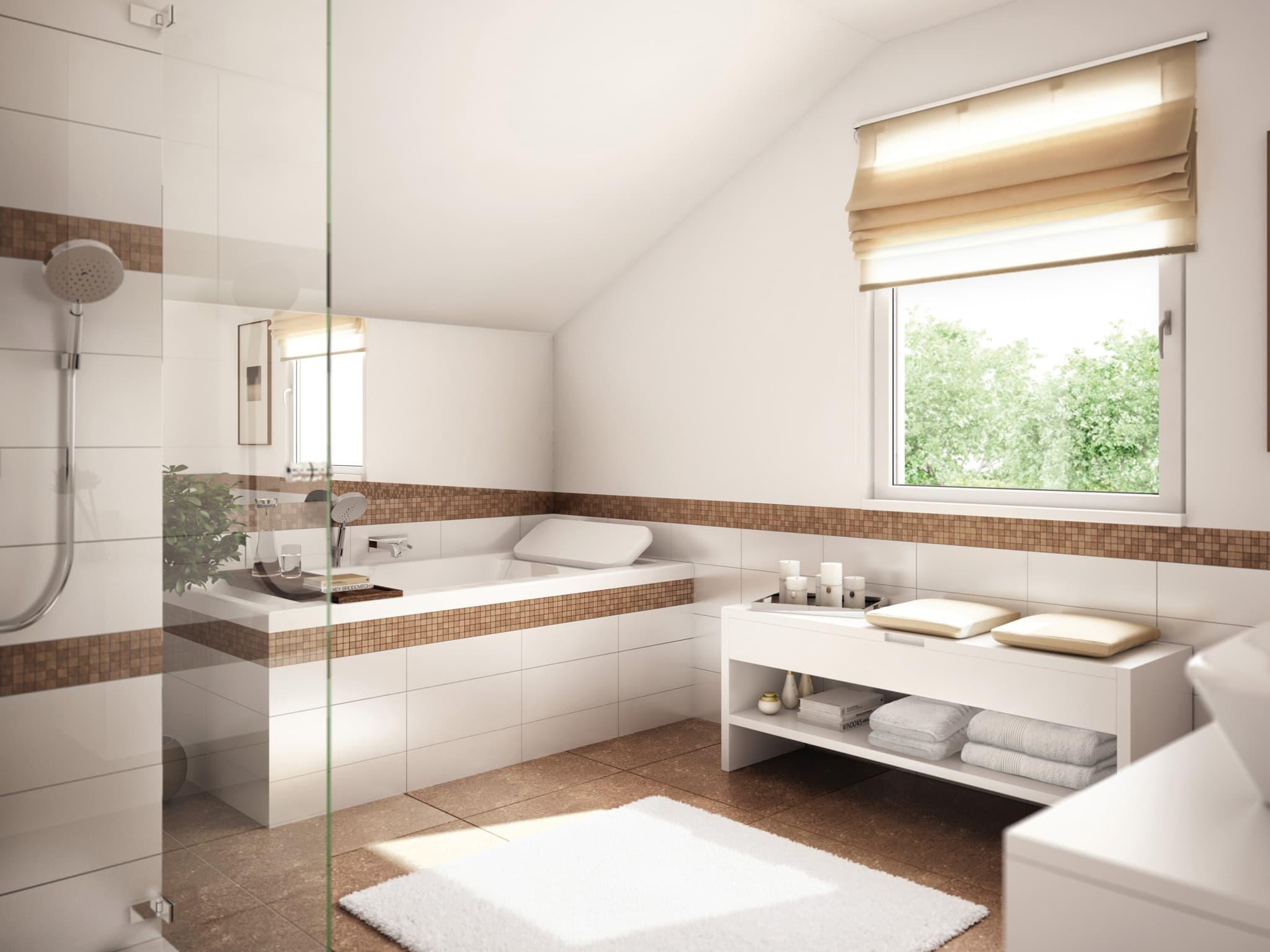 Modernes Badezimmer mit Badewanne unter Dachschräge - Wohnideen Inneneinrichtung Einfamilienhaus SUNSHINE 125 V3 von Living Haus - HausbauDirekt.de