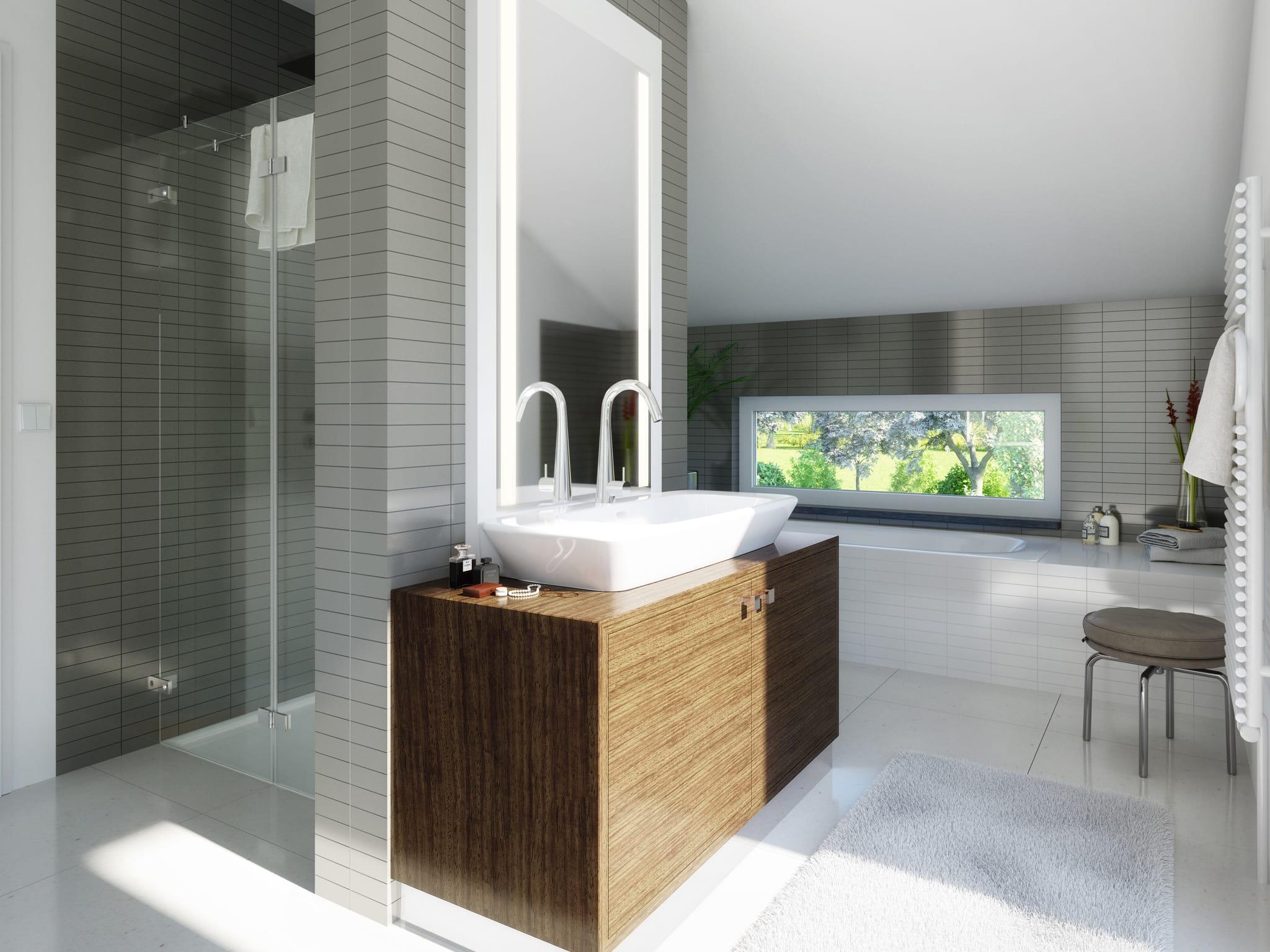 Badezimmer modern Fliesen grau weiß - Wohnideen Fertighaus SUNSHINE 165 V5 von Living Haus - HausbauDirekt.de