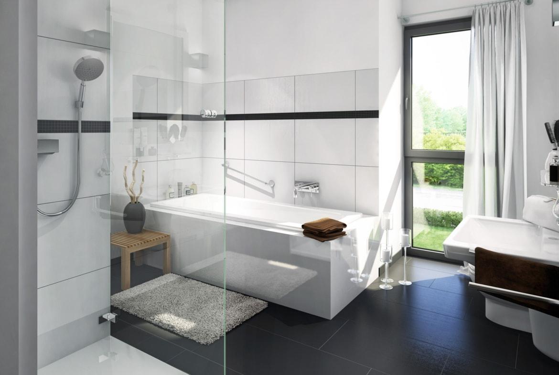 Modernes Badezimmer Fliesen schwarz/ weiss - Bad Ideen Inneneinrichtung Fertighaus Stadtvilla Einfamilienhaus EVOLUTION 122 V10 von Bien Zenker - HausbauDirekt.de