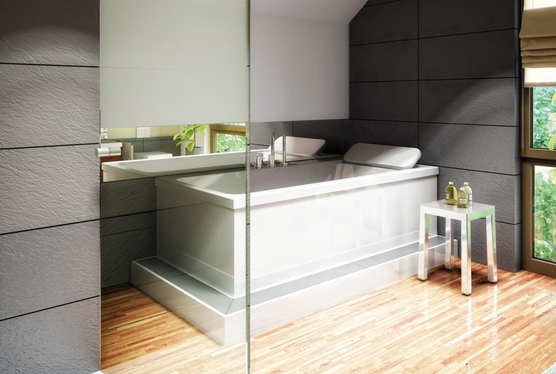 Modernes Badezimmer mit grauen Fliesen - Interior Design Fertighaus Living Haus SUNSHINE 136 V5 - HausbauDirekt.de