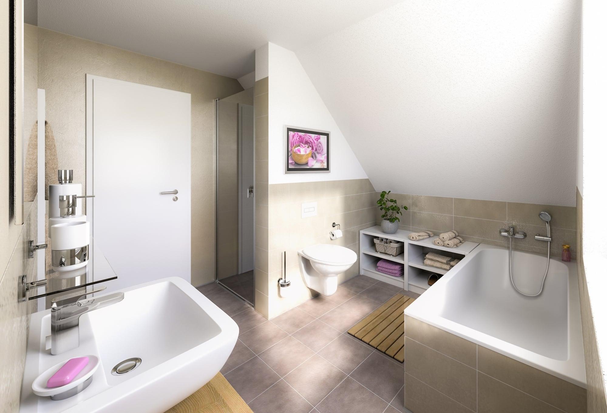 Badezimmer mit Dachschräge - Einfamilienhaus Inneneinrichtung Ideen Massivhaus Raumwunder 100 Süd von Town & Country Haus - HausbauDirekt.de