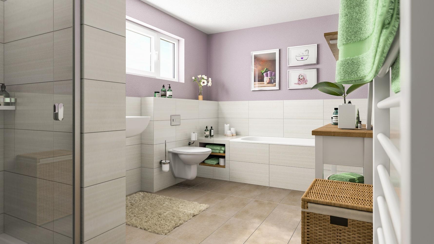 Badezimmer mit Badewanne und Fenster - Stadtvilla Inneneinrichtung Ideen STADTHAUS 100 Town & Country Haus - HausbauDirekt.de