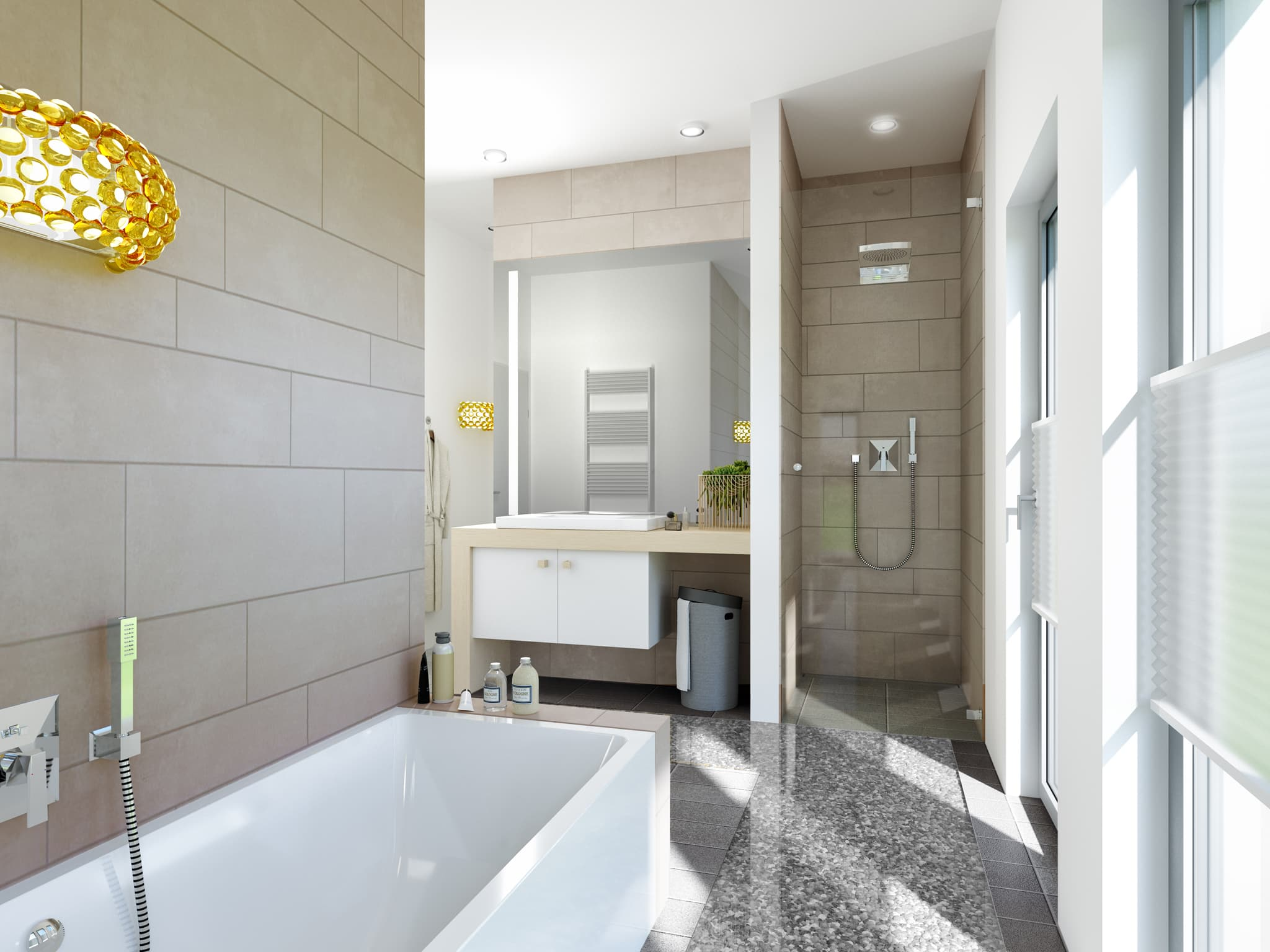 Badezimmer modern - Ideen Inneneinrichtung Haus Bien Zenker Fertighaus FANTASTIC 161 V6 - HausbauDirekt.de