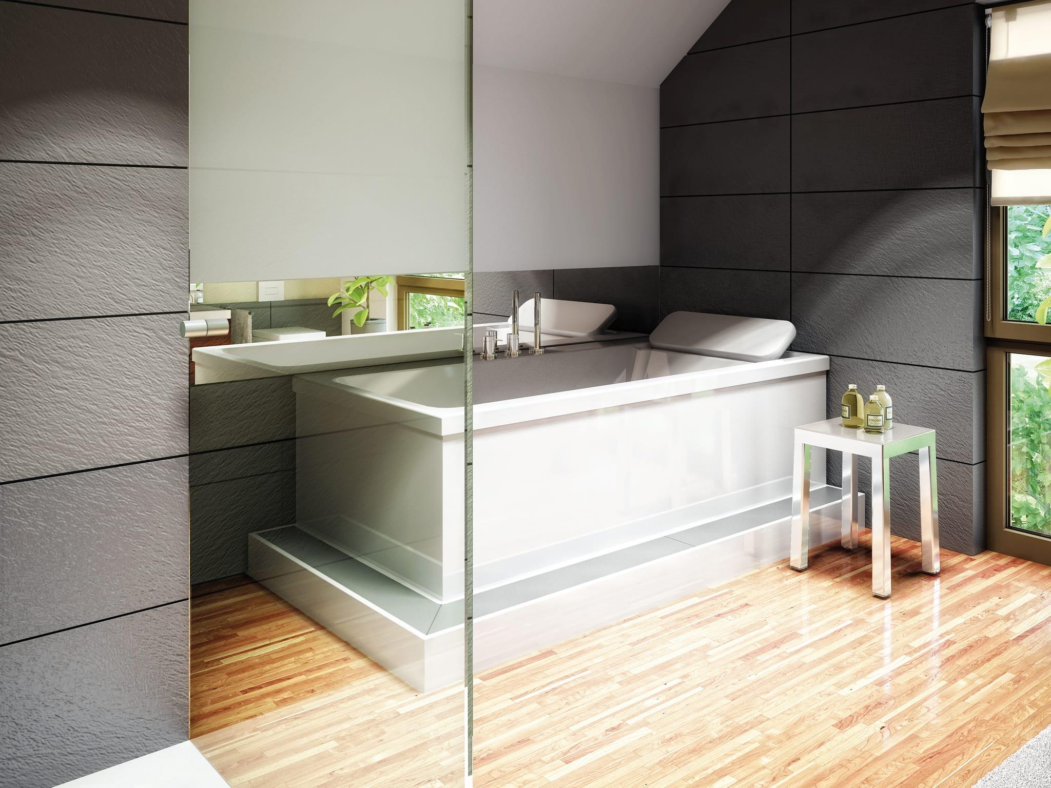 Badezimmer modern mit Dachschräge & Fliesen in Holzoptik - Wohnideen Fertighaus Living Haus SUNSHINE 136 V4 - HausbauDirekt.de