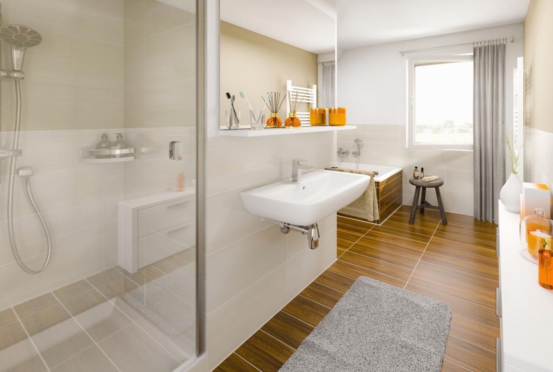 Badezimmer modern mit Fliesen in Holzoptik - Ideen Einrichtung Town & Country Haus Lichthaus 121 Klinker - HausbauDirekt.de