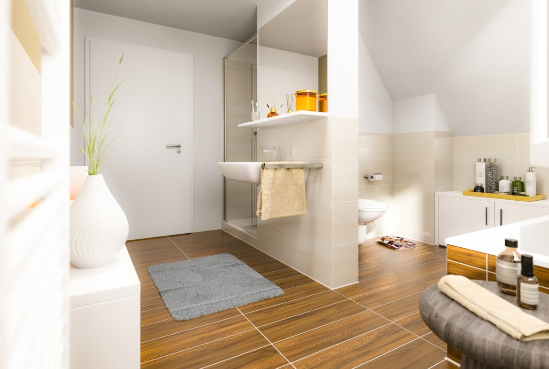Badezimmer modern mit Raumteiler & Fliesen in Holzoptik - Ideen Einrichtung Town & Country Haus Lichthaus 121 Klinker - HausbauDirekt.de