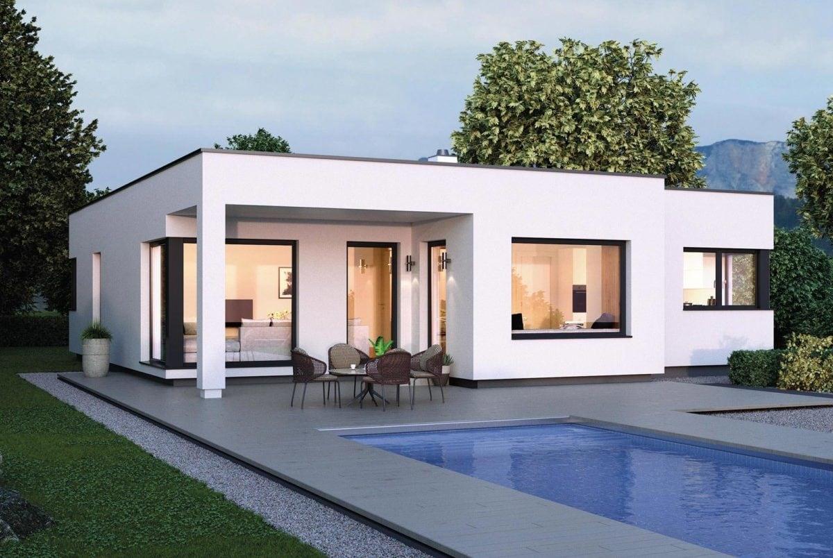 Bauhaus Bungalow mit Flachdach, Erker und Pool Terrasse, 3 Zimmer, 150 qm - Haus ebenerdig bauen Ideen ELK Fertighaus Bungalow 125 - HausbauDirekt.de