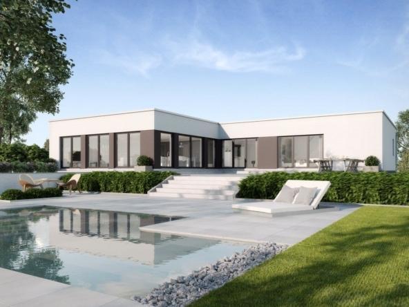 Luxus Bauhaus Bungalow modern mit Flachdach Architektur & Pool Terrasse, 5 Zimmer, 170 qm - Fertighaus schlüsselfertig bauen Ideen GUSSEK HAUS Toulouse - HausbauDirekt.de