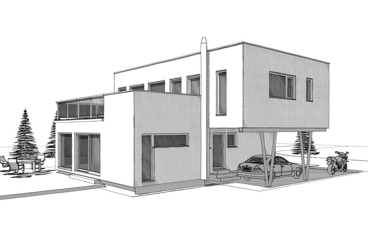 Bauhaus Stadtvilla modern mit Flachdach, Erker, Dachterrasse & integriertem Carport - Haus Design Ideen Skizze Fertighaus ELK Haus 164 - HausbauDirekt.de