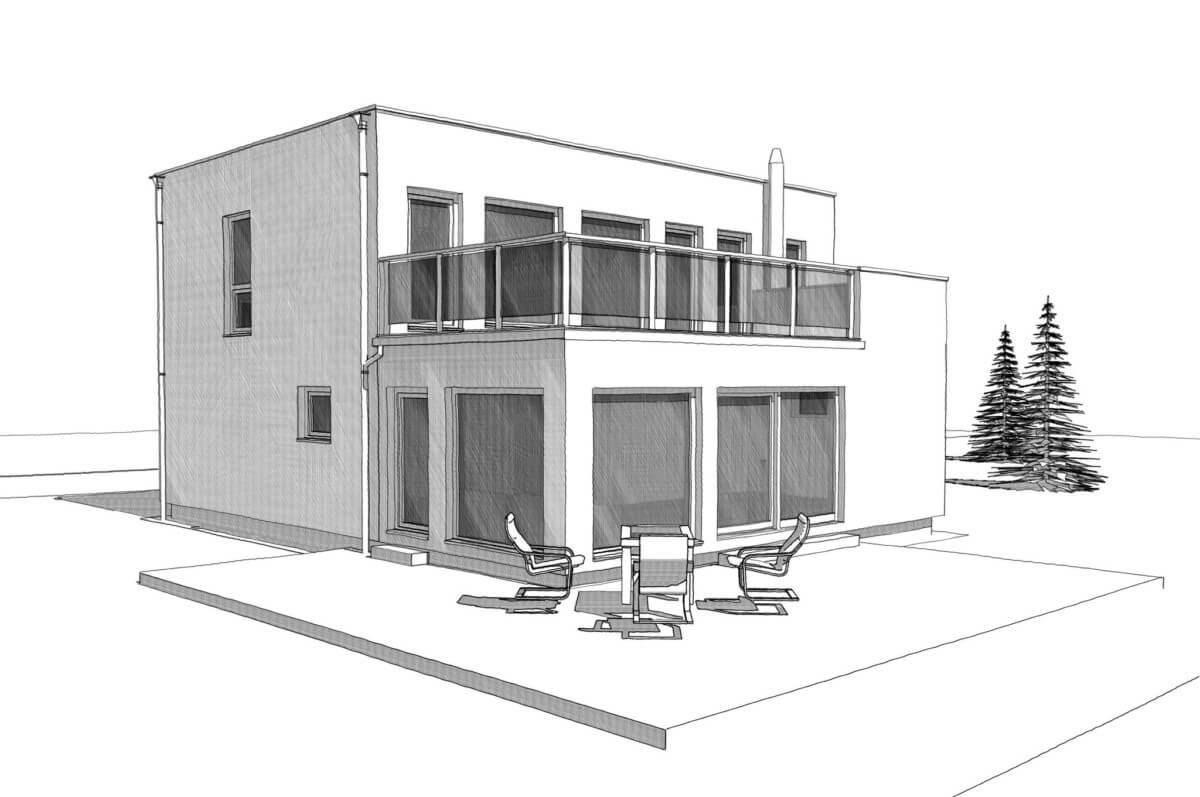 Einfamilienhaus modern mit Flachdach, Erker & Balkon im Bauhausstil bauen - Haus Design Ideen Skizze Fertighaus ELK Haus 164 - HausbauDirekt.de