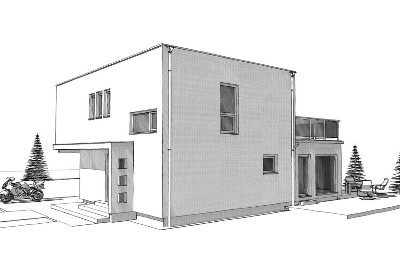 Einfamilienhaus modern mit Flachdach Architektur im Bauhausstil bauen - Haus Design Ideen Skizze Fertighaus ELK Haus 164 - HausbauDirekt.de