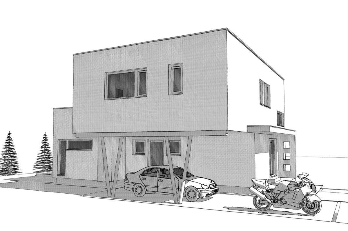 Einfamilienhaus modern mit Flachdach & integriertem Carport im Bauhausstil bauen - Haus Design Ideen Skizze Fertighaus ELK Haus 164 - HausbauDirekt.de