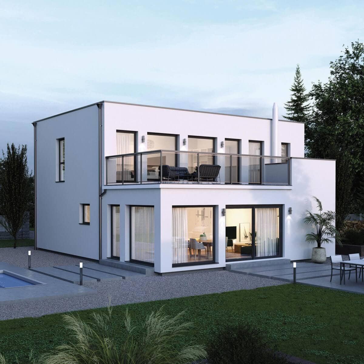 Bauhaus Stadtvilla modern mit Flachdach, Erker & Dachterrasse - Haus Design Ideen Fertighaus ELK Haus 164 - HausbauDirekt.de