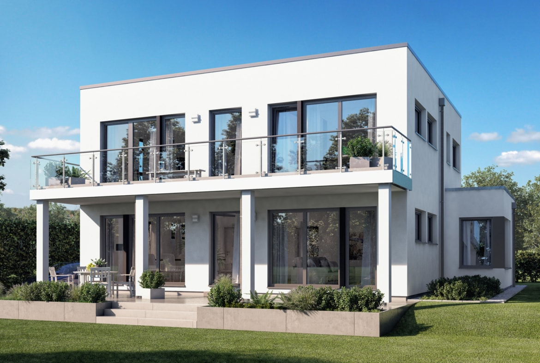 Bauhaus Stadtvilla modern mit Flachdach, Erker & Balkon, 5 Zimmer Grundriss, 165 qm - Fertighaus SUNSHINE 165 V7 von Living Haus - HausbauDirekt.de