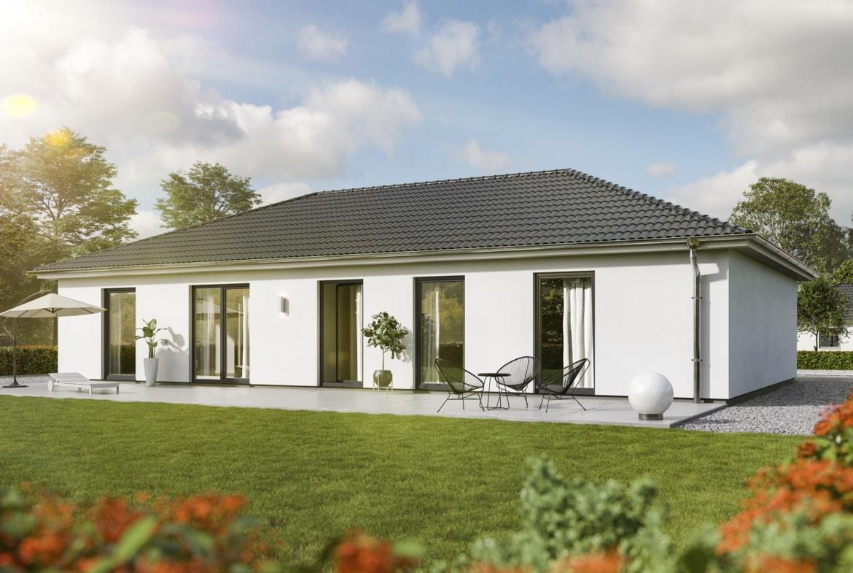 Bungalow Haus Neubau mit Walmdach Architektur, 5 Zimmer, 130 qm - Massivhaus Town Country Haus Bungalow 131 Elegance - HausbauDirekt.de