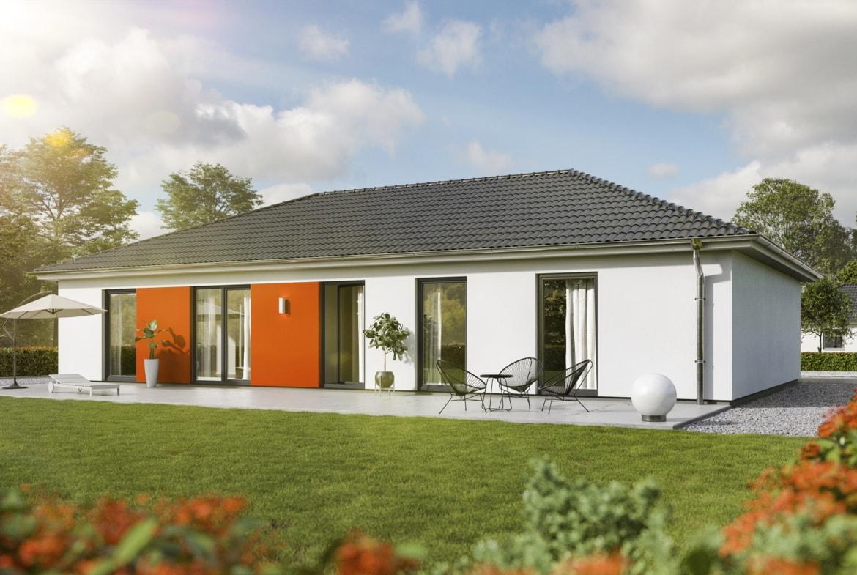 Bungalow Haus modern mit Walmdach & Putz Fassade, 5 Zimmer, 130 qm - Massivhaus Town Country Haus Bungalow 131 Style - HausbauDirekt.de