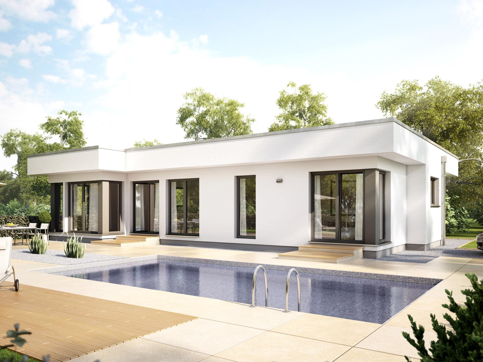 Bungalow AMBIENCE 100 V4 Fertighaus Flachdach Bien Zenker Haus