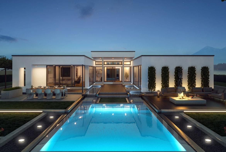 Fertighaus Flachdach Bungalow AMBIENCE 209 FD Bien Zenker - Haus bauen Ideen auf HausbauDirekt.de